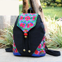 原创民族风刺绣花双肩包休闲女背包个性帆布书包旅行包百搭后背包