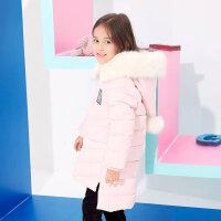 美特斯邦威童装女童时尚韩版长款羽绒服中大童冬季保暖外套