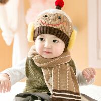 婴儿帽子秋冬0-3-6-12个月1-2岁宝宝帽子冬季儿童帽子毛线帽2件套