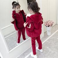 女童秋冬装套装2018新款韩版中大儿童洋气金丝绒加绒加厚三件套潮