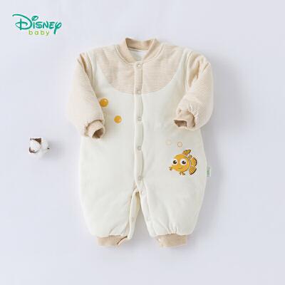 迪士尼Disney童装 婴儿衣服秋冬新款小丑鱼尼莫前开连体衣宝宝夹棉休闲爬爬服184L765 三层面料,舒适保暖
