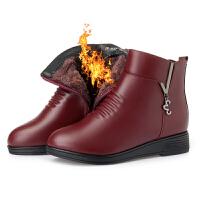 二棉鞋女孕妇冬加绒妈妈保暖短靴2018秋款矮靴新款百搭平底真皮SN8900