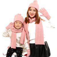 秋冬季女儿童毛线针织帽子围巾手套三件套围脖 保暖亲子装