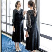 大码女装胖mm连衣裙2019春装新款洋气法式减龄遮肚显瘦复古裙 黑色