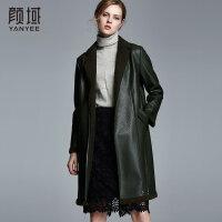 颜域品牌女装2017冬季新款西装领皮毛一体中长款外套黑色皮大衣女