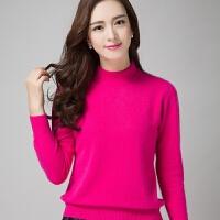 羊绒衫女半高领纯色短款套头毛衣韩版针织打底宽松羊毛衫