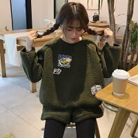 套装女春装时尚潮2018新款学生韩版卡通卫衣上衣+阔腿短裤两件套