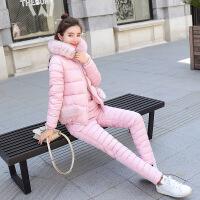 2018冬季新款短款棉衣套装女加厚棉袄时尚羽绒两件套外套冬装