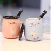 创意陶瓷杯子可爱带盖勺大容量马克杯 动物情侣水杯牛奶早餐咖啡杯
