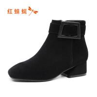 【领�幌碌チ⒓�120】红蜻蜓秋冬新款靴子翻皮高跟棉靴圆头矮靴粗跟短靴女加绒