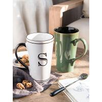 定制大容量马克杯带盖勺家用茶杯欧式复古陶瓷杯办公室创意水杯子