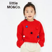 littlemoco中大童女童圆领套头喇叭袖卷边毛球毛衣KA171SWT316 moco