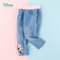 迪士尼Disney童装 儿童米妮印花牛仔裤女童薄款长裤时尚百搭年春季新品迪斯尼宝宝裤子