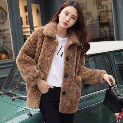 海宁仿羊羔毛皮草外套女中款韩版2020春秋新款宽松羊剪绒大衣显瘦