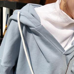 谜秀卫衣女套头2018春装新款韩版宽松学生假两件短款上衣原宿风潮