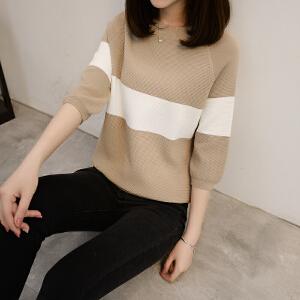 韩版新款春季新款修身大条纹插肩袖五分袖低圆领冰麻针织衫女套头