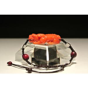 寿山蜡烛红芙蓉石【交角螭】手链