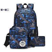 双肩包男高中大学生书包女韩版潮休闲电脑背包户外运动旅游包 蓝色 标准版