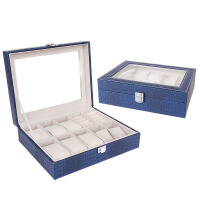 10位手表展示盒 鳄鱼纹盒首饰箱 外贸时尚男款手表盒