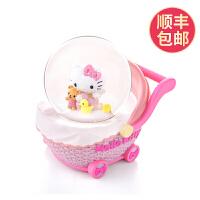 婴儿车音乐盒水晶球八音盒雪花生日礼物女生送女孩儿童 HELLO KITTY婴儿车:AS TIME GO