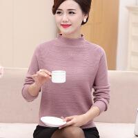 妈妈装半高领毛衣中年女士0%纯羊毛衫大码中老年女装冬季打底衫