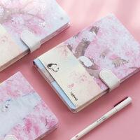 花月创意小清新磁扣手账本简约插画记事本彩页笔记本手绘日记本厚