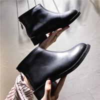 靴子女英伦短靴秋款2018新款韩版百搭黑色马丁靴女高跟鞋冬季粗跟