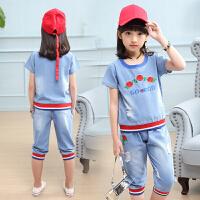 女童夏装新款套装大童洋气短袖儿童时髦女孩衣服两件套潮童装
