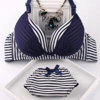 日系少女无钢圈内衣 甜美条纹海军风学生胸衣文胸套装女士胸罩