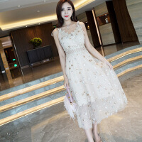 泰国潮牌心机吊带连衣裙星星亮片刺绣超仙女长裙度假沙滩裙子 香槟色