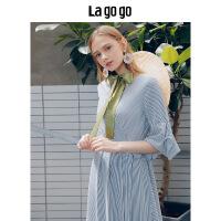 【5折价149.5】Lagogo/拉谷谷2018年夏新品时尚气质V领女喇叭袖连衣裙HALL324A46