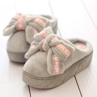 保暖超厚底棉拖鞋女松糕冬季毛毛拖室内增高跟可爱防滑防水台月子
