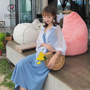 欧若珂  2018夏季新款韩版薄款宽松显瘦防晒百搭纯色衬衫女