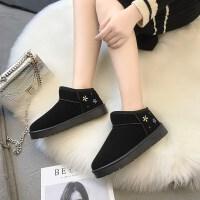 鞋子女冬季加绒雪地靴女防水台皮面内增高学生保暖中筒靴