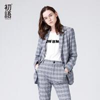 初语西装女 2018春季新款翻领经典格纹开叉修身chic西服外套女