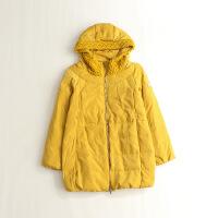 秋冬女中长款羽绒服 连帽毛线拼接茧型显瘦外套