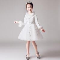 冬季花童礼服公主裙女童婚纱裙蓬蓬纱儿童钢琴演出服小主持人加厚