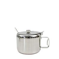 不锈钢调料缸 厚不锈钢带柄糖盅 带手柄调料盒调味罐带勺