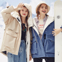 【2件2.5折到手价:291.25,2月19日0点开抢】美特斯邦威棉服女士2019冬季新款时尚潮流工装单口袋舒适保暖棉
