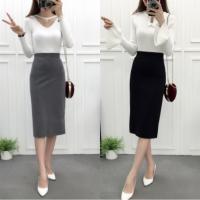20180825154635538开叉半身裙秋冬中长款百搭黑色包臀裙一步裙高腰直筒裙显瘦半身裙