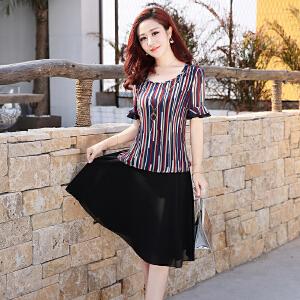 正品夏装新款35岁到45的连衣裙中年人妈妈雪纺条纹中长款