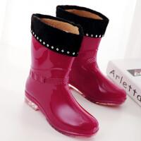 秋冬加绒雨靴女士长筒时尚水鞋防滑水靴中高筒雨鞋女韩国胶鞋