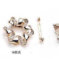 新款金属带钻丝巾扣 韩国简约圈圈圆通形带珍珠胸针女两用xx