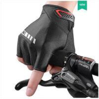 户外短指手套透气骑行手套加厚硅胶减震运动健身自行车手套半指男