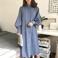 连衣裙女冬季新款韩版bf灯笼袖中长裙气质长袖宽松大摆A字裙