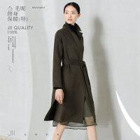 [AMII东方极简] JII AMII2017冬装新款女装宽松中长款收腰带外套赫本风毛呢子大衣