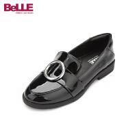 百丽Belle童鞋18新款女童时装鞋时尚亮面儿童皮鞋中大童校园小黑鞋学生鞋(5-10岁可选) DE0609
