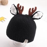 婴儿帽子秋冬季0-3-6-12个月宝宝毛线帽冬天保暖男童女童针织帽潮 均码
