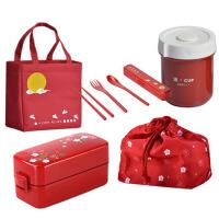 学生双层便携饭盒便当盒日式餐盒可微波炉加热塑料手提分隔午餐盒包套餐