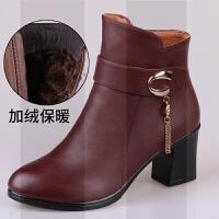 中年中老年靴子中跟粗跟女鞋冬季保暖加�q皮鞋秋冬棉鞋����鞋短靴SN4514